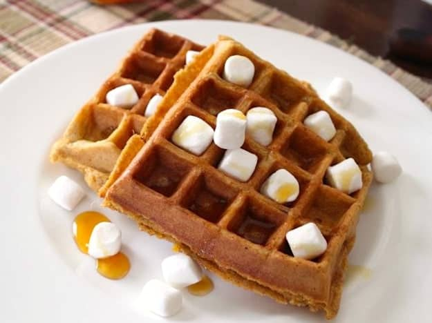 Sweet Potato Casserole Waffles | A fun treat for the Thanksgiving holiday---or anytime.