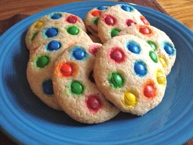 Soft Gluten-Free Sugar Cookies Topped with M&Ms