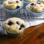 Gluten-Free Blueberry Muffins are sweet, light, and loaded with fruit! For perfect muffins, scoop the batter with a muffin scoop.